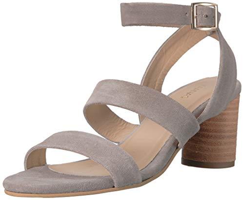 KAANAS Damen Noosa Open Toe Heeled Ankle Strap Shoe Flache Sandale, Cement, 38 EU