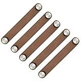POFET Manillas de puerta de armario nórdico de piel sintética suave, para armarios, cajones, tiradores de muebles (26 x 170 mm), color marrón