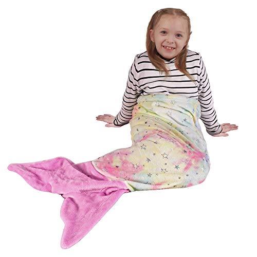 softan Manta de cola de sirena para niños, maravillosa manta de dormir teñida, estrellas brillantes coloridas, forro polar de franela de felpa suave, el mejor regalo para niñas, linda cola rosa