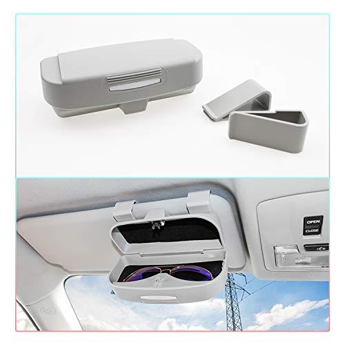 RUIYA Brillenetui mit Schnalle für Brille Multifunktion Doppel-Clip Brillenetui für Volvo/Kona/Tesla (grau)