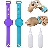 Juting Portable Sillicone Soap Bracelet Wristband Hand Sanitizer Dispenser Band with Squeeze Bottle (2Pcs Blue+Purple)