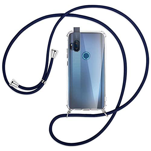 mtb more energy® Handykette kompatibel mit Motorola One Hyper (6.5'') - dunkelblau - Smartphone Hülle zum Umhängen - Anti Shock Full TPU Hülle