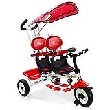 COSTWAY Tricycle Evolutif Enfants avec 3 Roues 2 Places Poussette Evolutif pour...