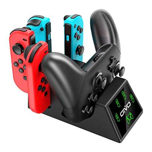 Switch Joy-Con Controller Charger and Pro Controller Charging Dock for Nintendo Switch, OIVO 5 in 1 Fast Charger Docking Station for Nintendo Switch - 2.8FT Type C Cable Included