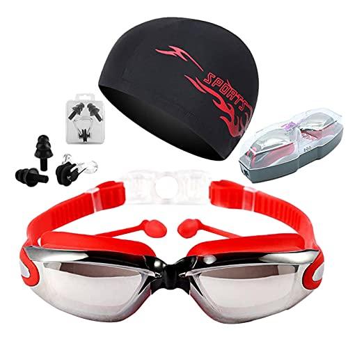 Aosong Gafas De Natación, Antiniebla Gafas para Nadar Protección UV Sin Fugas para Adultos Y Niños, Gafas De Natación con Puente Nasal Suave para Hombres, Mujeres, Adultos Y Adolescentes