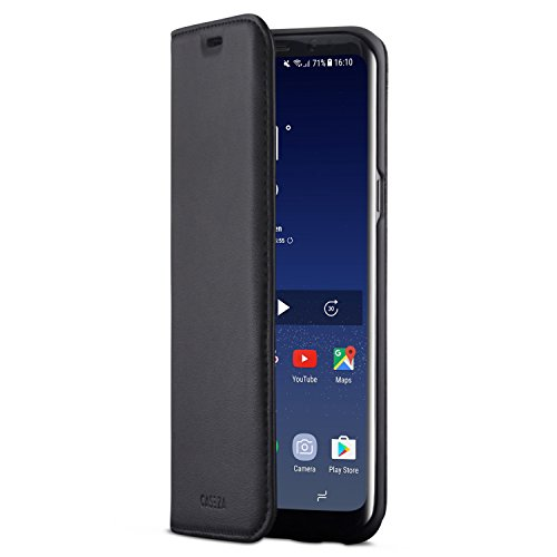 CASEZA Cover Galaxy S8 Plus Nero Similpelle a Libro Oslo Custodia Eccellente in Pelle Sintetica a Portafoglio per Samsung Galaxy S8+ (6,2 ) Originale - Ultra Sottile con Chiusura Magnetica
