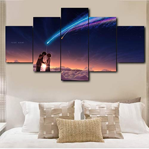 5 paneles Wall Art Your Name (Kimi No Na Wa) Painting Art Canvas Poster Your Name Movie Poster Painting(With Frame size)