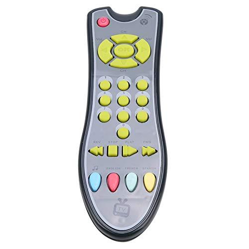 Surebuy Juguetes De Control Remoto para Bebés De 3 Idiomas, Control Remoto De TV De Música para Bebés, Juguetes Educativos para Niños De Aprendizaje Digital para Bebés De 1 a 3 Años(Gris)