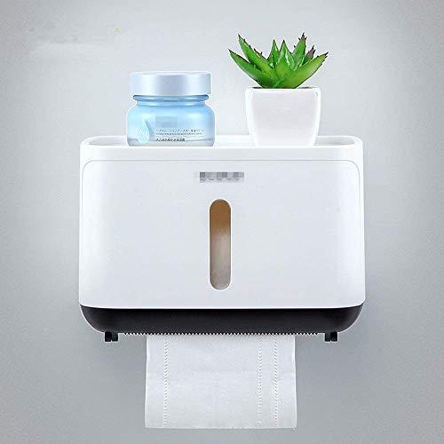 ZLININ Soporte para toallas de baño, bandeja de papel higiénico blanca, adhesivo de acero inoxidable para sostener a pesado, fácil de instalar, para ahorrar espacio (color: blanco, tamaño: 21 x 13 cm)