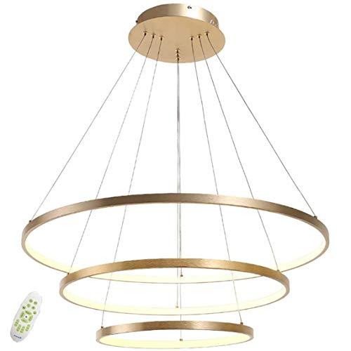 Lampara de colgante LED, regulable de luz/brillo redonda, lampara de mesa de comedor cocina comedor salon, con mando a distancia, Lampara de techo-Dorado_3 anillos 40+60+80cm