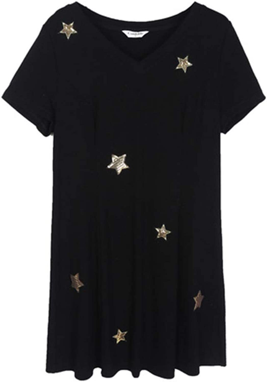 Dress Large Size Women's Fat Sister Summer Dress VNeck Stars Waist Covered Belly (Size   XXXL)
