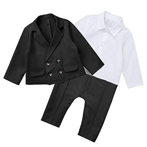 TiaoBug Baby Junge Anzug Smoking Klein Kinder Anzug Set Hochzeit Festliche Kleidung Gentleman Anzüge Baumwolle Schwarz D 50-62