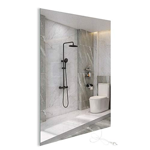 450W Infrarotheizung Spiegelheizung mit LED Beleuchtung Infrarot Spiegel Heizung Wandheizung Elektroheizkörper Heizplatte Heizpaneel Elektroheizung Wandmontage Energieeinsparend