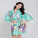 Handaxian XL Braut Hochzeitskleid Frauen Elegante Print Satin Pyjama Blume Kimono Bademantel Kleid