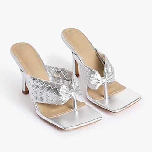 LLEH Sandalias para Mujer Zapatos Moda, Chanclas Brillantes Brillantes Sandalias de tacón Alto con Puntera,Plata,42
