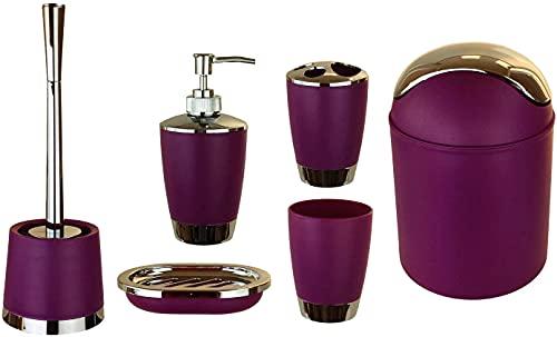 GMMH zestaw przyborów łazienkowych, 6-częściowy, dozownik mydła, szczotka do muszli klozetowej, komplet łazienkowy, kolor fioletowy
