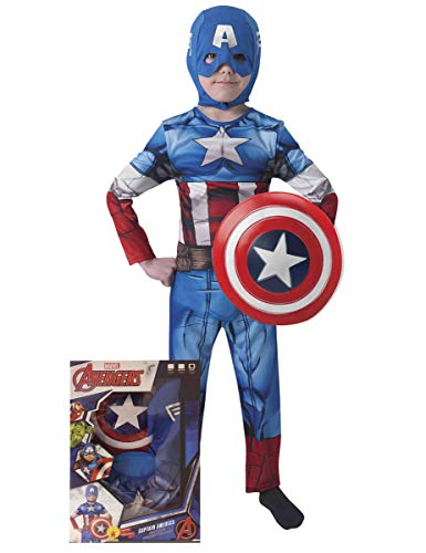 Avengers - Disfraz de Capitán América con escudo para niños, infantil 5-6 años (Rubie's 620551-M)