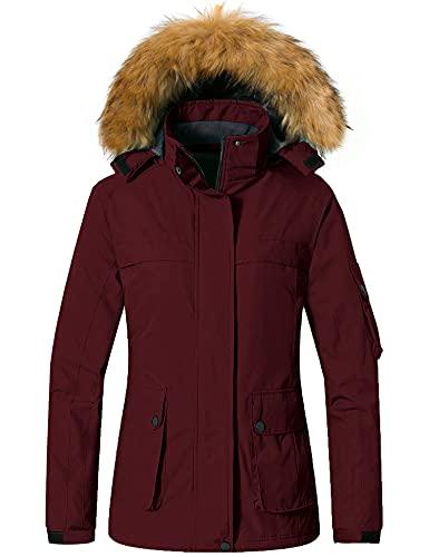 Wantdo Women's Fleece Ski Jacket Winter Snow Coat Short Parka Anorak Casual Wear Wine Red S