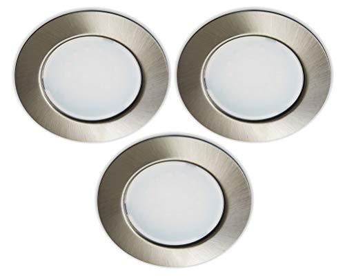 Trango G4E-032 Juego de 3 focos LED empotrables para muebles 12V AC/DC lámpara de techo de níquel mate para sustituir las lámparas convencionales G4 para muebles, campana de cocina, lámpara de armario