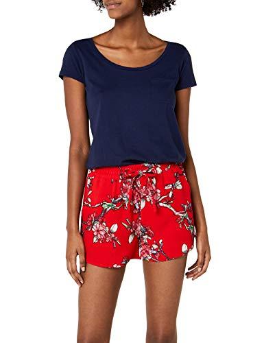 ONLY Damen onlTURNER AOP WVN NOOS Shorts, Mehrfarbig (High Risk Red AOP:Flower Print), 36