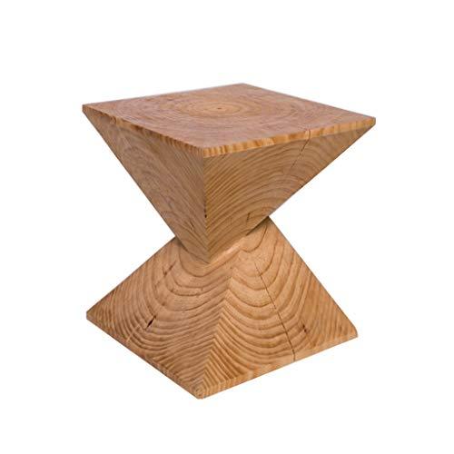 DXJNI - Creativa Mesa de Centro pequeña de Pino, Mesa Auxiliar con sofá balcón, Taburete pequeño Multifuncional, Pulido a Mano, Grano de Madera Natural (40 × 40 × 45 cm)