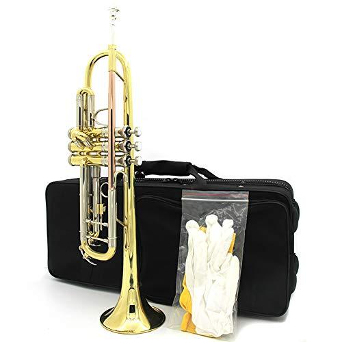 LJRnyi trompet messing standaard Bb trompet student beginner met het spelen van handschoenen, Vingering instructies gemakkelijk te leren trompet