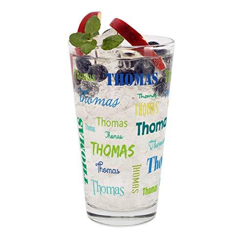 Herz & Heim® Trinkglas mit Namen in verschiedenen Schriftarten und Farben Blau-Grün