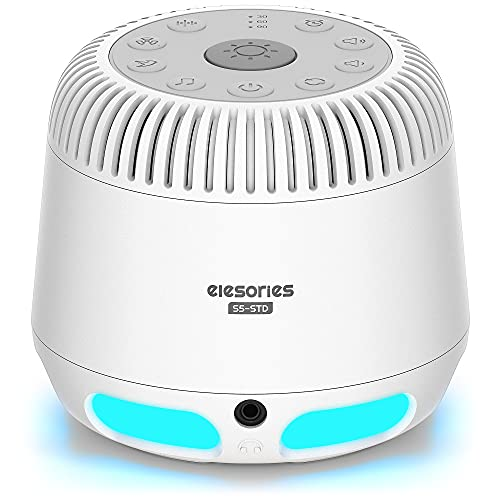 White Noise Machine, elesories Sound Machines with Adjustable 10 Color Baby Night Light & Wireless Speaker, 24 Soothing Sounds for Sleeping Adults Kids, Portable Sleep Therapy for Nursery Home Office