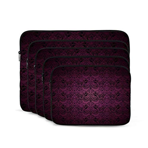 Computer Bag Liner Carrying Case Water-Repellent Fabric Business Casual or SchoolRoyal Baroque Gothic Ornate Dark Purple-15 inch