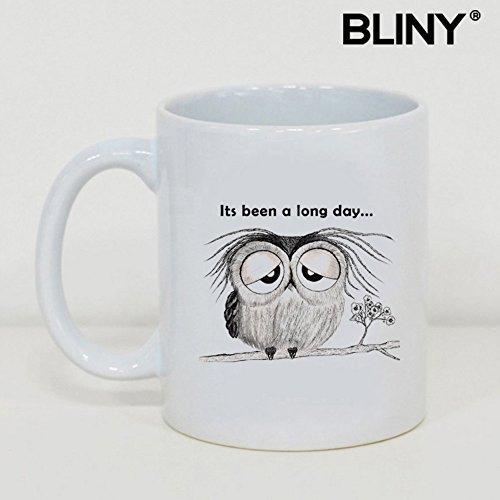 bliny Funny Geschenk Kaffeebecher 312, schlafende Eule, beste Geschenk für love-tea Becher Glas Tasse