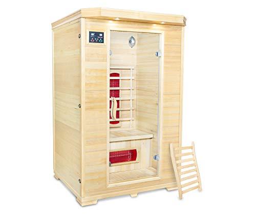 AISER Relax Sauna -Umea- Infrarotkabine Keramikstrahler - Holz: Hemlocktanne - Maße 120 x 120 x 182...