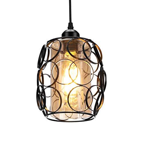 Lightess Lámpara de Techo Colgante Cristal Luz Vintage Industrial Metal E27 No Incluye Bombilla Iluminación para Comedor, Restaurante, Color de Ámbar