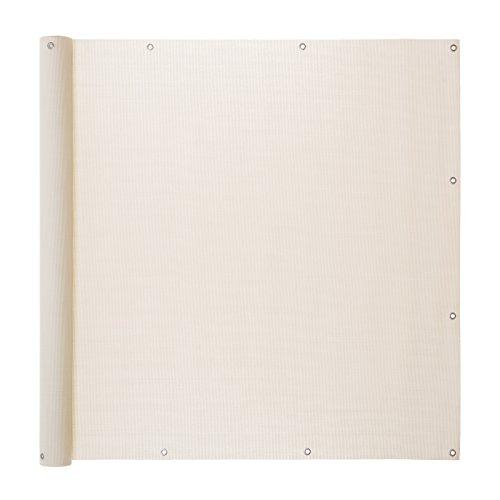 Ventanara Balkonverkleidung Sichtschutz PVC Balkonumspannung Zaun Verkleidung Blende Windschutz Folie 500 x 75 cm Creme