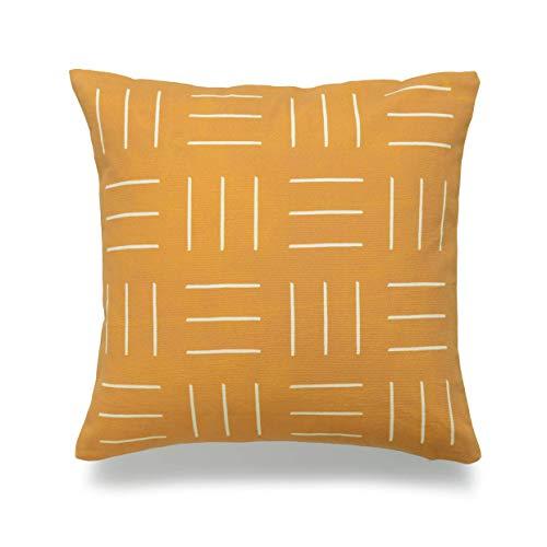 phjyjyeu Funda de almohada de barro africano solamente, diseño de lunares amarillos mostaza, 45,72 x 45,72 cm