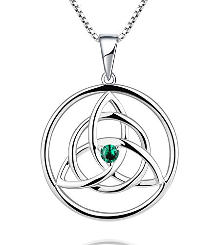 YL Celtic Knot Necklace Sterling Silver Created Emerald Love Knot Pendant Trinity Knot Jewelry