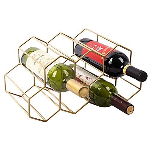 WWWL Estantería de Vino Hexagonal estantes de Vino Moderno diseño de Botella de gabinete Soporte portátil de Madera Almacenamiento de Organizador para gabinete de exhibición Retro (Color : Gold)