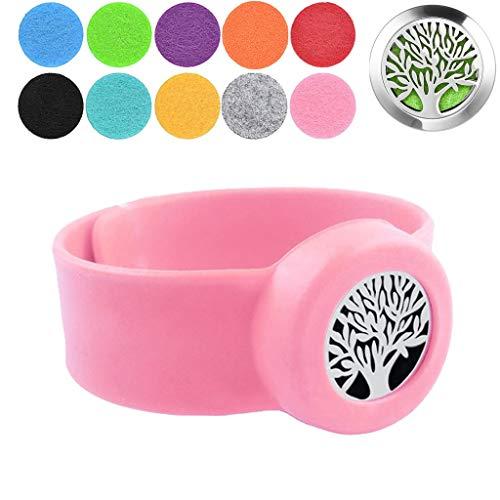 Preisvergleich Produktbild HXCSSK2 Aromatherapie Armbänder Baum des Lebens Silikon-Klaps-Armbänder Partei Armbänder mit 10 Waschbar Insert-Pads for Mädchen & Jungen Partei-Bevorzugung (Color : J)