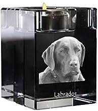 Labrador Retriever, Crystal Candlestick, Candle Holder with Dog, Souvenir, Limited Edition