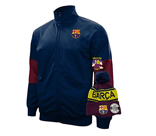 Barcelona jacket youth 2020 2020-21 la liga 20/21 junior winter beanie for kids youth set 1 (YM, Barcelona set 1)