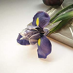 Silk Flower Arrangements Artificial and Dried Flower 3pcs Artificial Iris Flowers Pu Material Have A Scent Fake Floweres Home Wedding Decoration - ( Color: Violet )