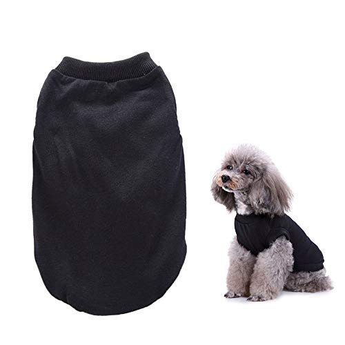 Hond mode shirt kleding kat katoenen kleding pyjama kleding zachte en comfortabele puppy trouwjas hond kostuum,Black,XXL