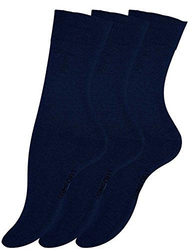 VCA 6 Paar Damen Wohlfühlsocken, Ohne Gummib&, Baumwolle, handgekettelte druckfreie Spitze (39/42, marineblau)