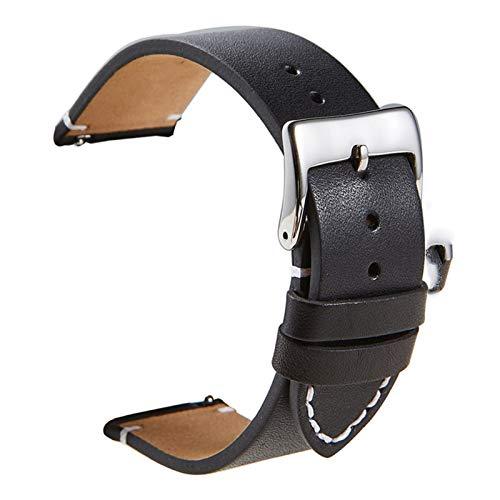 Reloj de cuero Relojes rápidos Relojes Reloj Correa de muñeca 18 mm 20 mm 22 mm 24mm reloj inteligente Correa Relojes Accesorios 1033 (Band Color : Black, Band Width : 20mm)