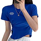Cuello Redondo Crop Top Mujer Manga Corta Niña Manga Corta Camisetas Corta Nina con Azul Oscuro Camiseta Corta De Nina M