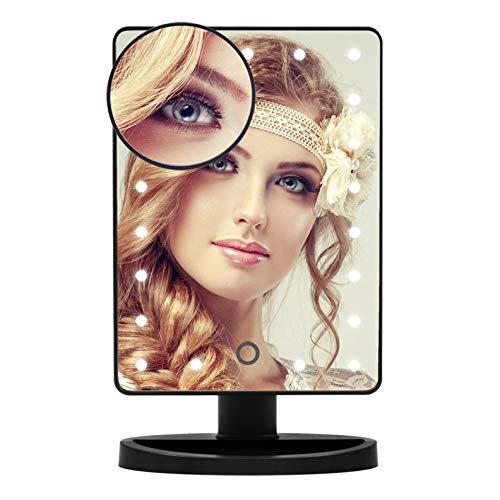 JKCKHA Tablero de la Mesa del Espejo cosmético, Espejo portátil de Viaje con Luces LED / 10X de Aumento, Espejo del Punto/Pantalla táctil / 180 ° de rotación USB y Mediante batería
