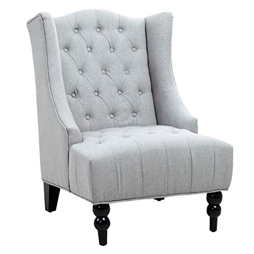 Great Deal Furniture Clarice Tall Wingback Tufted Fabric Accent Chair, Vintage Club Seat for Living Room (Silver)