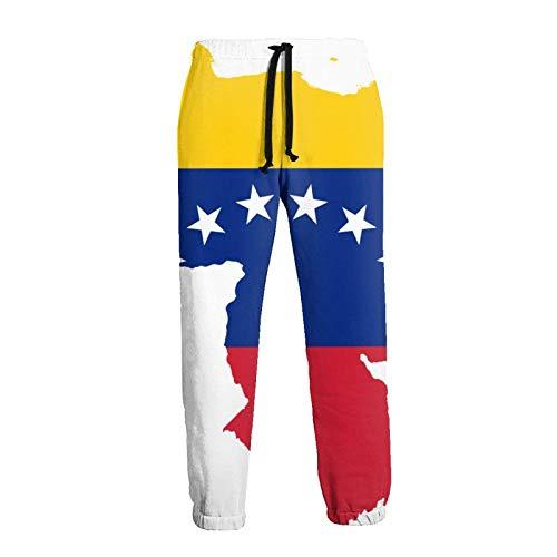 AEMAPE Hombres's Bandera Mapa De Venezuela Jogger Pantalones De Chándal Pantalones De Chándal De Forro Polar Informal con Cordón Y Bolsillos