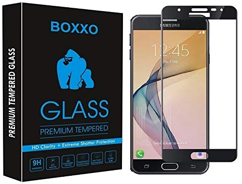 Boxxo Screen Protector for Samsung Galaxy J7 Prime [Tempered Glass Guard with Edge to Edge Protection] [Gorilla] [Full Coverage] Easy Installation [Anti FingerPrint] - Black