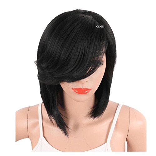 Perruque courte pour femme avec bonnet Noir