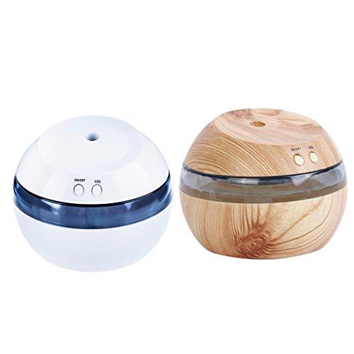 MagiDeal 2PCS 300ml Humidificador Ultrasónico Aromaterapia Difusor Aroma Purificador de Aire Lámpara LED Diseño 3 en 1 con Cable de USB